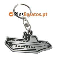 Porta chaves promocionais com logotipo Barco prateado