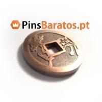 Fabricantes de moedas personalizadas com caixa e cor dourado com logo.